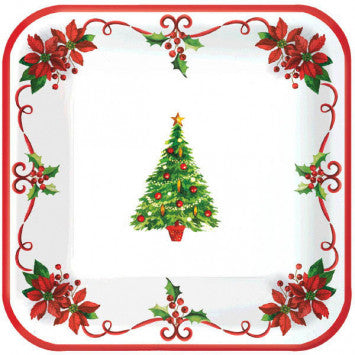 Traditional Christmas Square Plates, 40CT