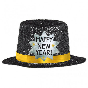 Happy New Year Mini Glitter Hat - Black