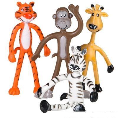 "4"" Bendable Zoo Animals - 4 Ct"