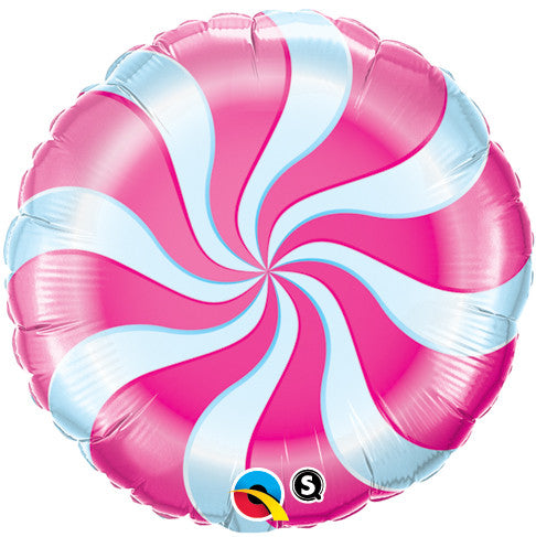 "18"" Candy Swirls Pink Foil Balloon"
