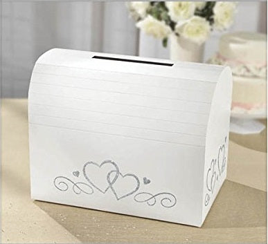 White Wedding Engagement Card Holder Box with Silver Glitter Hearts