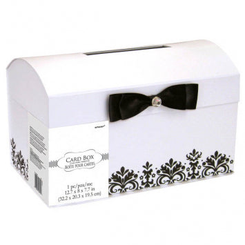 Black & White Printed Card Holder Box with Bow & Gem