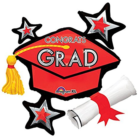 "Congrats Grad Cap Cluster SuperShape 31"" Foil Balloons, Orange"