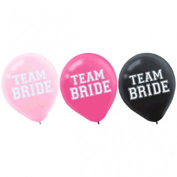 Assorted Team Bride Latex Balloons, 15Ct