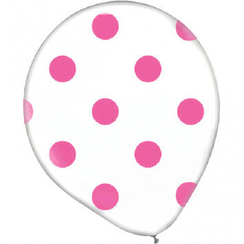 Clear Polka Dots Latex Balloons-Bright Pink 20Ct