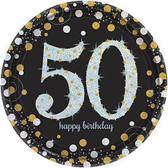 Sparkling 50th Birthday Prismatic Plates