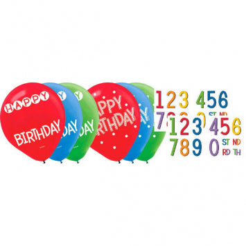 Birthday Add-Any-Age Latex Balloons - Asst. Colors 15Ct