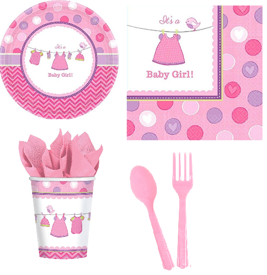 Baby Shower Its a Baby Girl Party Kit - 8 Guests