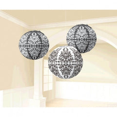 Damask Black & White Paper Lanterns