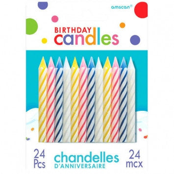 Candy Stripe Spiral Candles 24 Ct