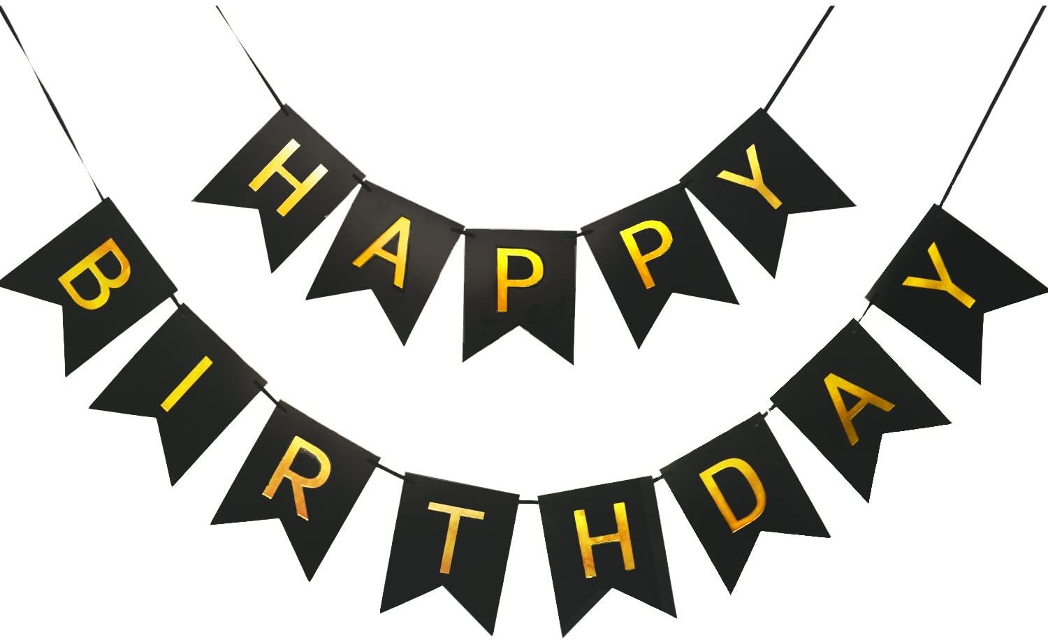Happy birthday banner, black with shiny gold letters