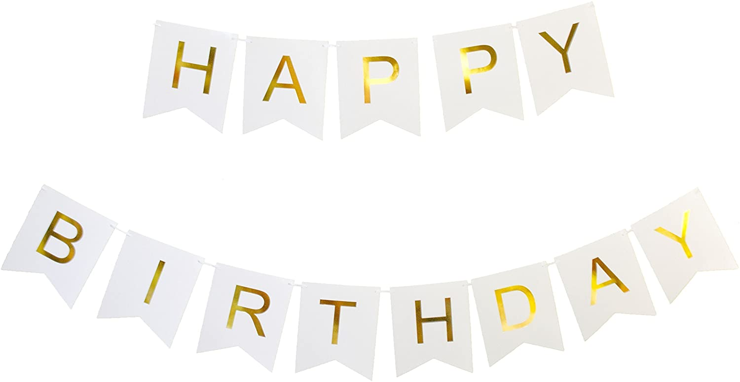 Happy Birthday Banner - White & Gold