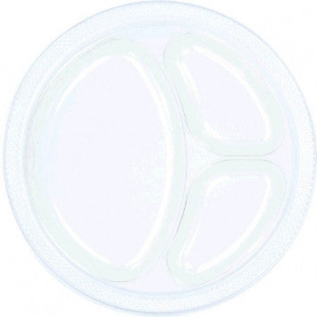 Clear Plastic Divided Plates - 20 count