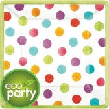 Eco Friendly - Watercolor Dots Plates - 18 Ct