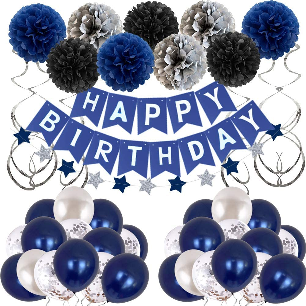 Happy Birthday Decoration Kit - Dark Blue & Silver