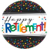 "10.5"" Happy Retirement Luncheon Plate - 8 Ct"