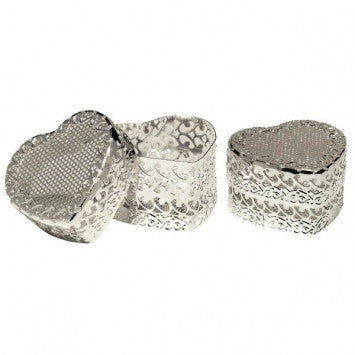 Silver Heart-Shaped Containers