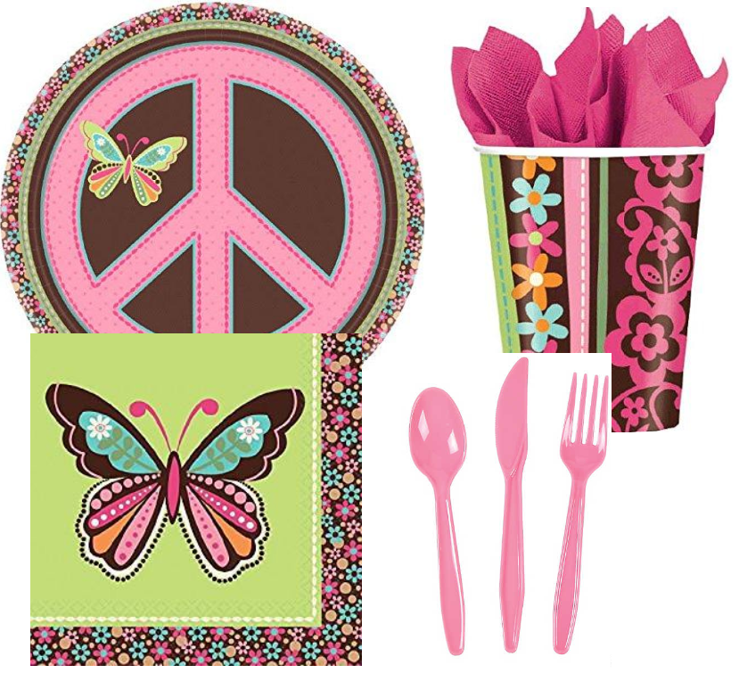 Hippie Chick Party Kit - 8 Guests