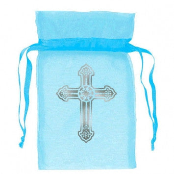 Blue Organza Bag With Cross 12 Ct