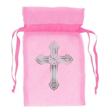 Pink Organza Bag With Cross  12 Ct