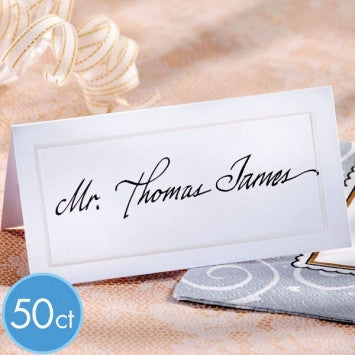 White Pearlized Place Cards 50ct