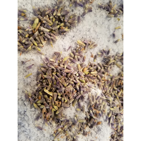 lavendar bath salt (soak) lavender buds and essential oil.