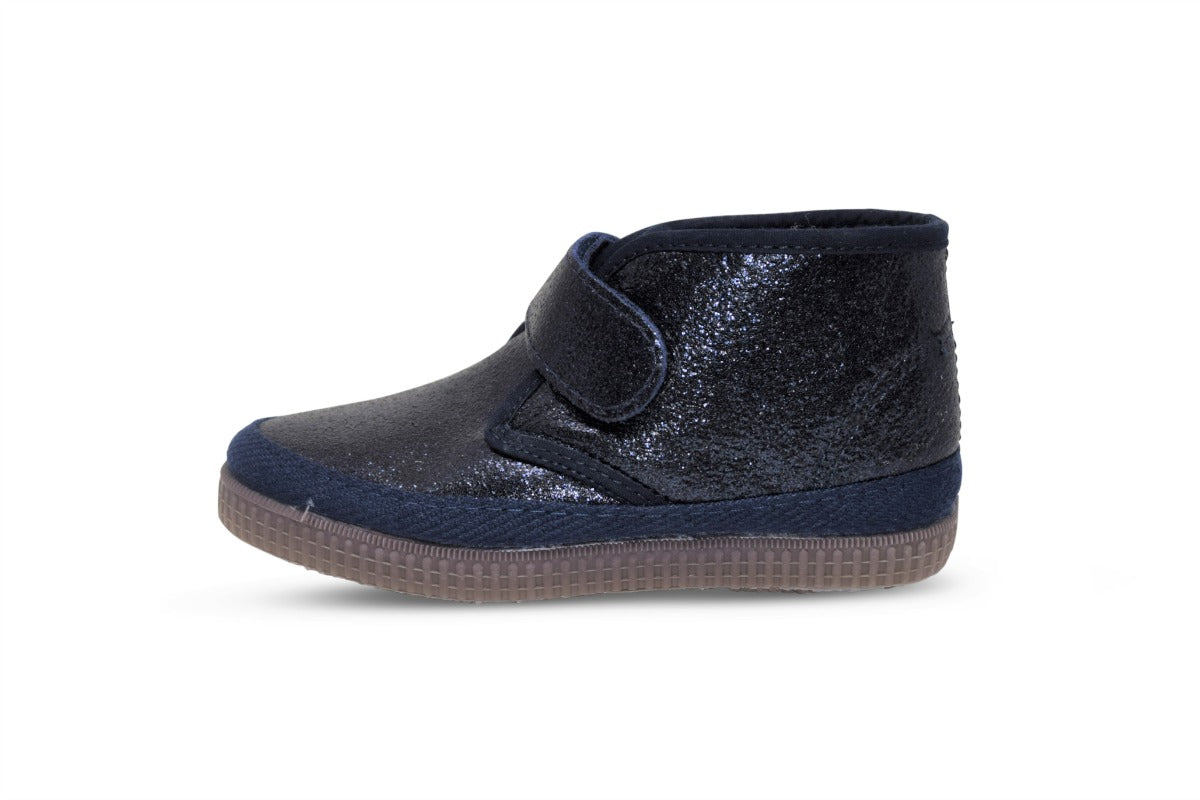 new styles new release amazing selection Leather boots metallic navy - toddler girl winter shoes - Velcro ...