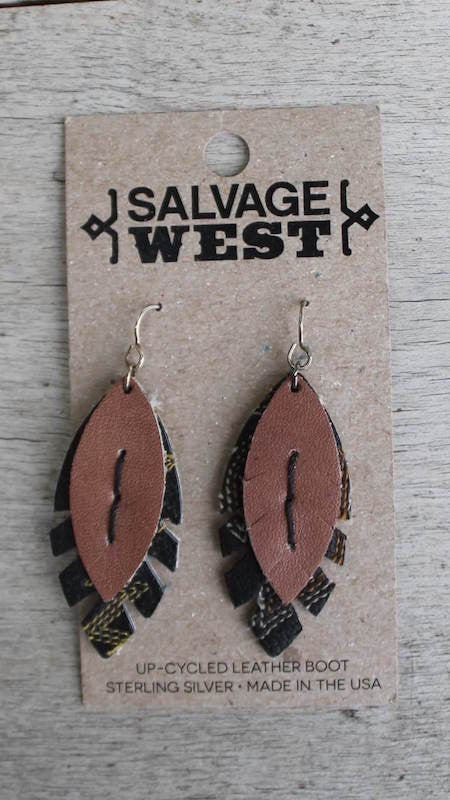 Leather Earrings - Hand Stitched