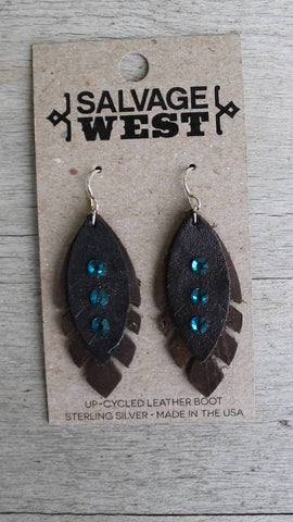 Leather Earrings - w/Crystals