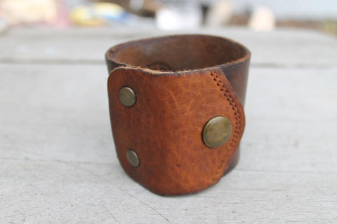 Wide Leather Cuff - 2 Piece