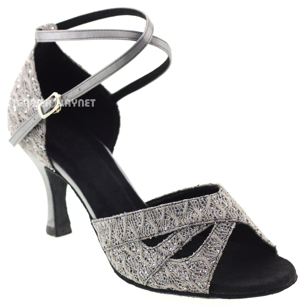 Silver Gray Women Dance Shoes D1009