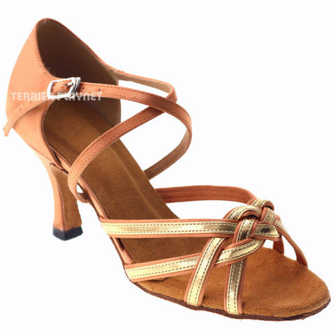 Tan & Glod Women Dance Shoes D1015