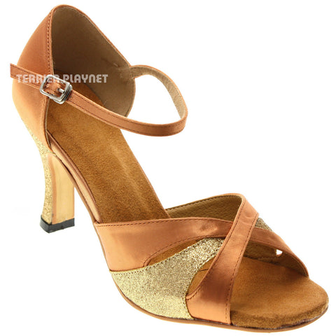 Tan & Gold Women Dance Shoes D1020