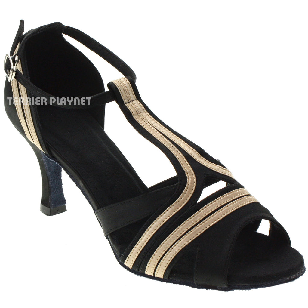 Black & Cream Women Dance Shoes D1023