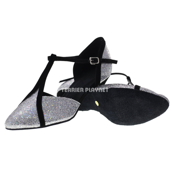 Black & Silver Women Dance Shoes D1071