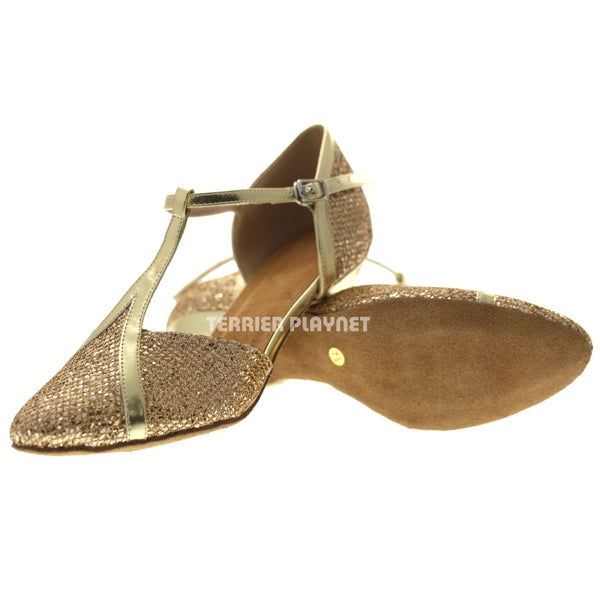 Gold Women Dance Shoes D1075