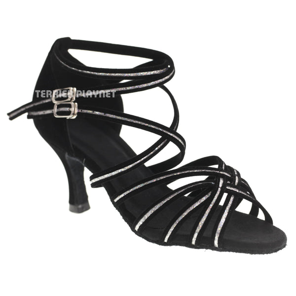 Black & Silver Women Dance Shoes D1078