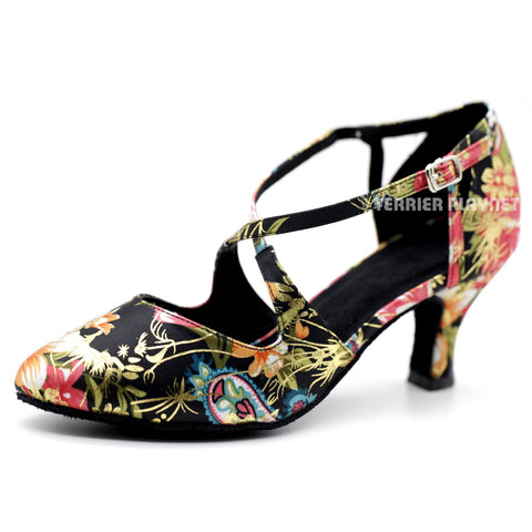 Black & Multi-Colour Flower Pattern Women Dance Shoes D1082