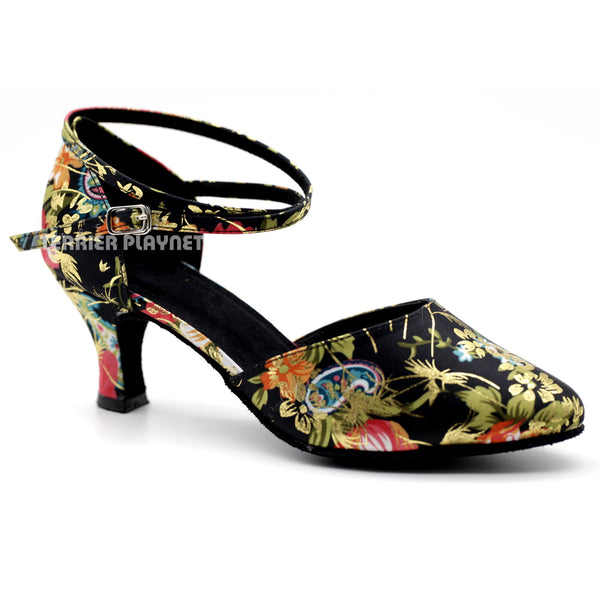 Black & Multi-Colour Flower Pattern Women Dance Shoes D1083