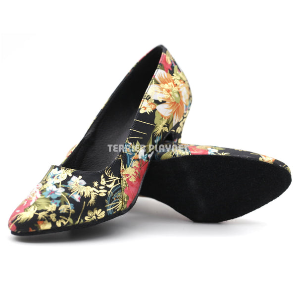 Black & Multi-Colour Flower Pattern Women Dance Shoes D1085