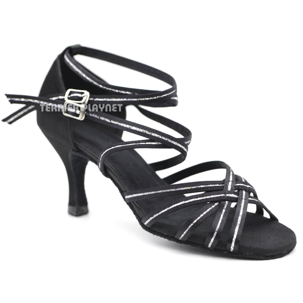 Black & Silver Women Dance Shoes D1114