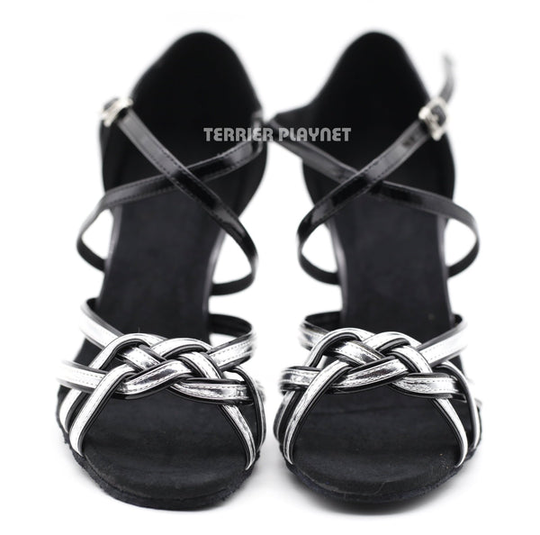 Black & Silver Women Dance Shoes D1133