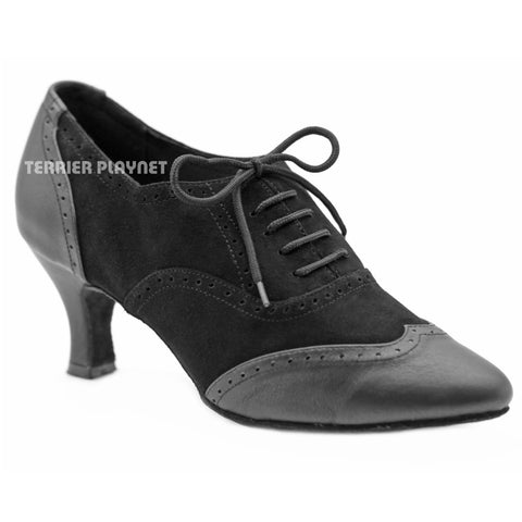 High Quality Black Leather Women Dance Shoes D1152W Wide