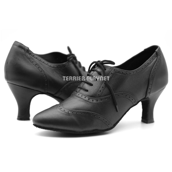 High Quality Black Leather Women Dance Shoes D1153W Wide