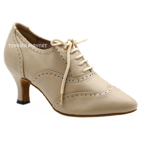 High Quality Flesh Leather Women Dance Shoes D1155W Wide