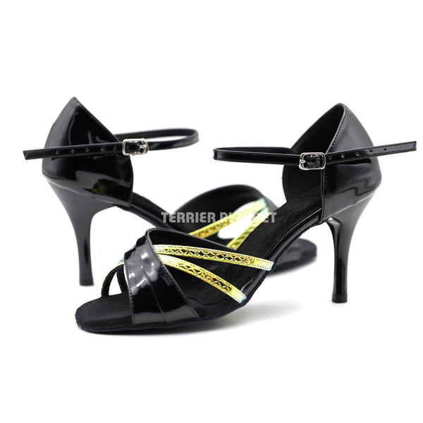 Black & Multi-Colour Snake Skin Pattern Women Dance Shoes D1159