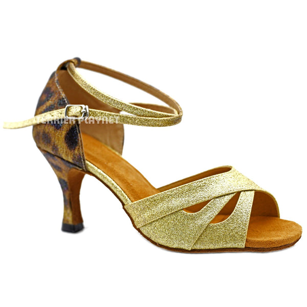 Gold & Multi-Colour Leopard Pattern Women Dance Shoes D1161