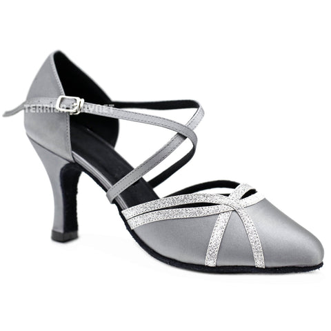 Silver Gray Women Dance Shoes D1163