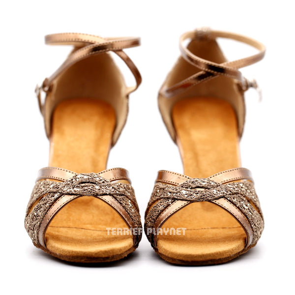 Bronze & Brown Women Dance Shoes D1167 - Terrier Playnet Shop