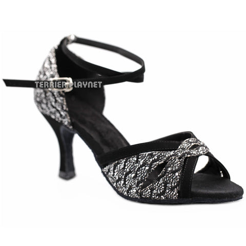 Black & Silver Women Dance Shoes D1168 - Terrier Playnet Shop